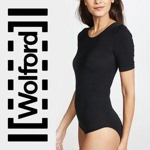 WOLFORD Short Sleeve Black Lace Bodysuit sz Large